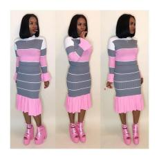 Fashion Striped Long Seeve Two Piece Midi Skirt Set HZM-1020