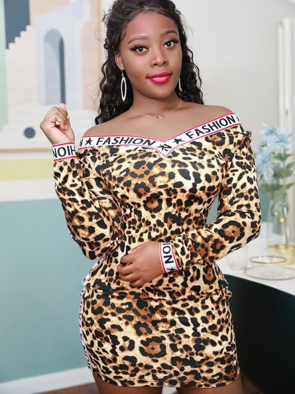 Sexy Leopard Print V Neck Long Sleeves Mini Dresses QY-5142