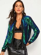 Casual Sequin Long Sleeve Zipper Jacket Coat TR-2004