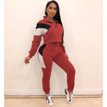 Casual Patchwork Tracksuit Long Sleeve 2 Piece Sets NK-8500