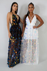 Sexy Sequin Backless Strappy V Neck Maxi Dresses LA-3147