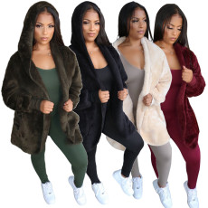 Winter Warm Hooded Faux Fur Plush Coats NK-8509