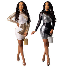 Sexy Sequin Long Sleeve Mini Bodycon Dresses IK-071