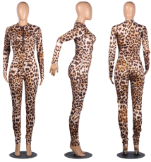 Sexy Leopard Printed Zipper Front Bodycon Jumpsuits MIL-070