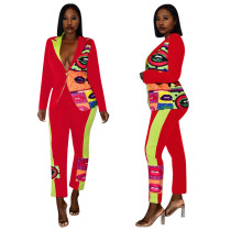 Trendy Printed Blazer Coat Long Pants 2 Piece Suits TE-3877