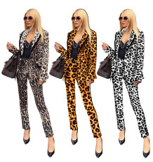 Leopard Print Blazer Long Pants Two Piece Suits YNB-7042