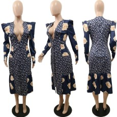 Floral Print V Neck Button Up Long Sleeve Dresses BGN-032