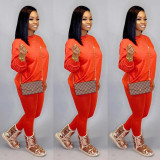 Solid Long Sleeve Casual Two Piece Pants Set CH-8080