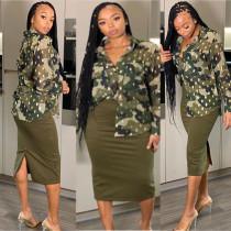Camouflage Print Long Sleeve Chiffon Blouse Shirt KSN-5086