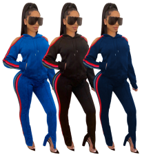 Women Stripes Side Hooded Tracksuits Two Pieces Sets YIM-8070