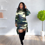 Casual Camouflage Print Long Sleeve Mini Dress MUM-5028