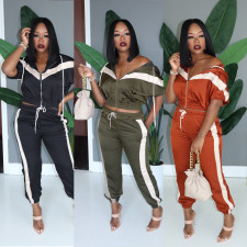 Casual Tracksuit Hooded Zipper Two Piece Sets MOS-992
