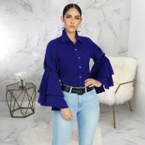 Trendy Ruffles Sleeve Turndown Collar Blouse Shirt SMR-9455