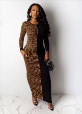 Geometric Print Patchwork Long Sleeve Maxi Dress YMT-6118