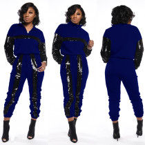 Casual Sequin Patchwork Two Piece Pant Sets BN-9213