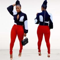 Trendy Patchwork Long Sleeve Chiffon Blouses FNN-8328