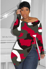 Plus Size Camo Print Zipper Long Sleeve Tops HGL-1245