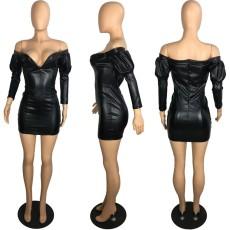 PU Leather Off Shoulder Black Bodycon Mini Dress PIN-8464