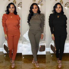 Solid Turtleneck Tops Long Pants Two Piece Sets BN-9216
