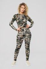 Casual Camouflage Print Hooded Two Piece Suits BGN-030