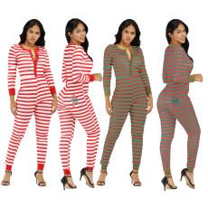 Plus Size Stripe Buttons One Piece Jumpsuits YM-9180