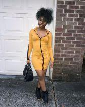 Sexy Zipper Long Sleeves Mini Bodycon Dresses YM-9181