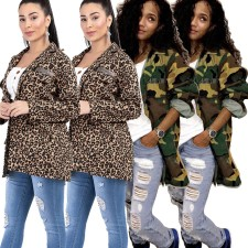 Plus Size Leopard Camo Print Casual Jacket Coat ME-045
