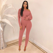 Solid Knitted Sweater Long Pants Two Piece Sets TE-3583