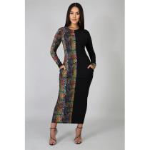 Snake Skin Print Patchwork Long Sleeve Maxi Dress ASL-6217
