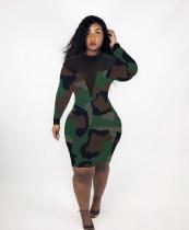 Leopard Camo Print Mesh Patchwork Bodycon Dress LM-8102