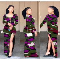 Camo Print High Split Bandage Maxi Dresses TEN-3393