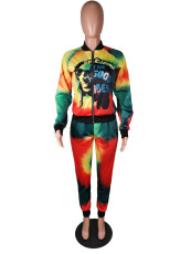 Casual Tie Dye Print Zipper Two Piece Sets MK-2045