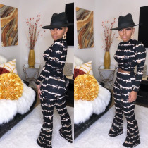 Fashion Printed Long Sleeve Boot Cut Pant Sets 2 Pieces BS-1152