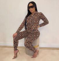 Leopard Camo Print Zipper Long Sleeve 2 Piece Suit ARM-8151