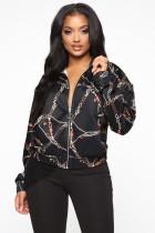 Chain Print Zipper Long Sleeve Loose Jacket Coat BGN-037