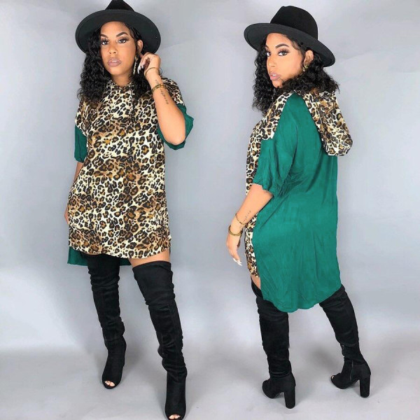 Leopard Print Patchwork Hooded Loose Mini Dress FNN-8338