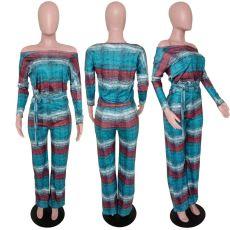 Sexy Stripe Print Slash Neck Long Pant 2 Piece Suit FST-7048