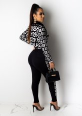 Casual Printed Zipper Jacket And Pants 2 Piece Sets MIL-077