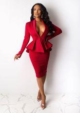 Elegant Peplum Tops Knee Length Skirt 2 Piece Sets LS-0295