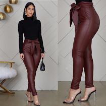 PU Leather High Waist With Belt Skinny Pencil Pants WZ-8247