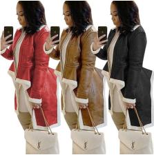 Plus Size Faux Leather Patchwork Irregular Zipper Coats MOF-5127