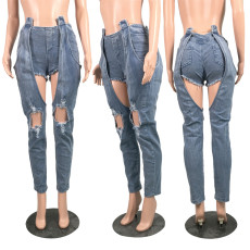 Denim Patchwork Ripped Holes Long Jeans WY-6642