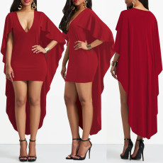 Sexy V Neck Swallowtail Solid Irregular Dresses AL-159