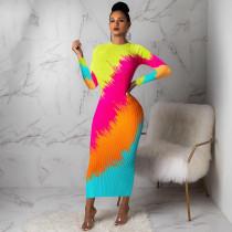 Trendy Printed Long Sleeves Bodycon Maxi Dresses FSL-065