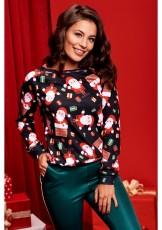 Christmas Santa Claus Print Long Sleeves Tops WY-6489