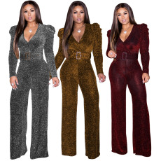 Sexy Deep V Neck Long Sleeves Belted Jumpsuits WY-6645