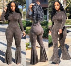Plus Size Sexy Long Sleeves Skinny Flare Jumpsuits CL-6039