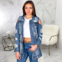 Trendy Ripped Holes Cold Shoulder Denim Coats SMR-9507