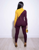 Sexy Patchwork Turtleneck Skinny Jumpsuits GS-1165