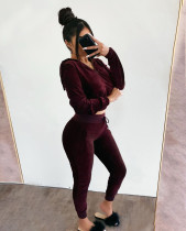 Solid Hooded Full Sleeve Long Pants 2 Piece Outfits YH-5123